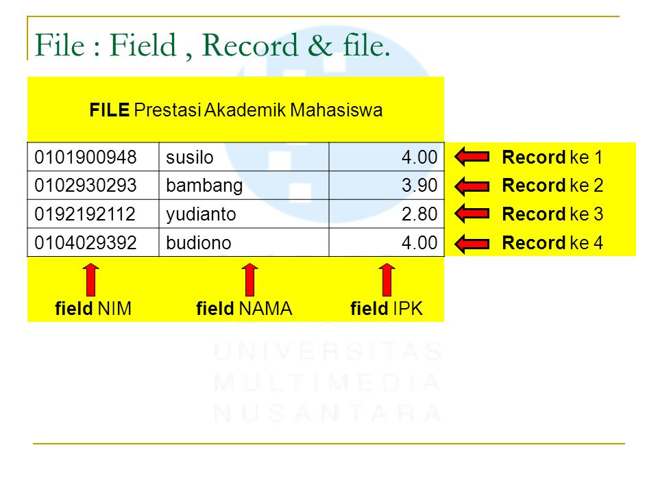 File : Field, Record & file.