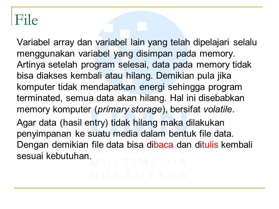 Variabel array dan variabel lain yang telah dipelajari selalu menggunakan variabel yang disimpan pada memory. Artinya setelah program selesai, data pa