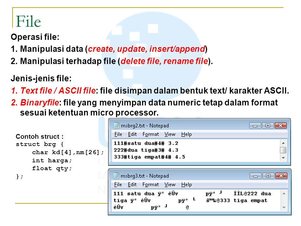 Operasi file: 1.Manipulasi data (create, update, insert/append) 2.Manipulasi terhadap file (delete file, rename file). Jenis-jenis file: 1.Text file /