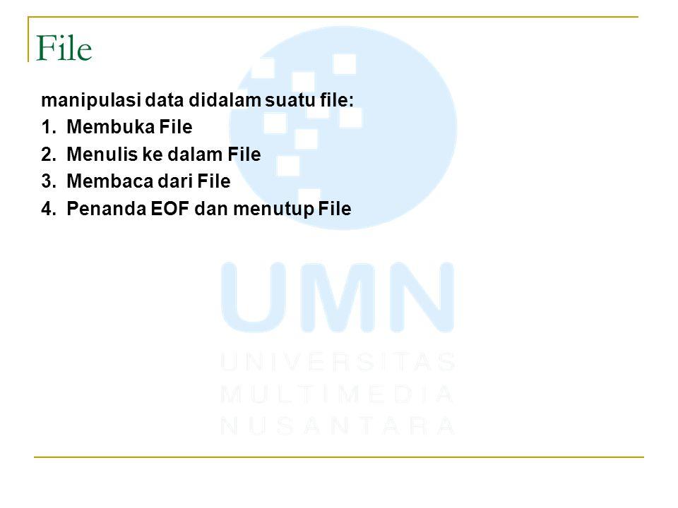 Notasi: FILE * fopen(char *namafile, char *mode); *namafile : nama file fisik yang akan dimanipulasi misal data.txt *mode : file dibuka untuk dibaca saja, atau ditulis saja, atau untuk ditambah data, dll.