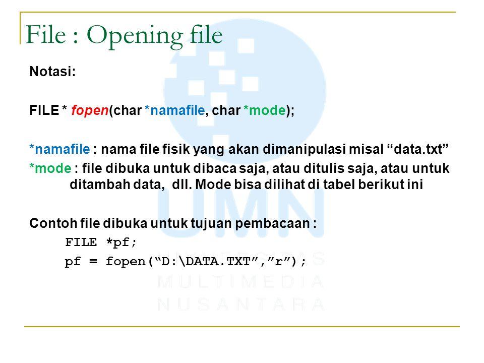 File : Opening file - mode modefungsi Jika File Sudah AdaTidak Ada r Read (baca)file dibukafile gagal dibuka w Write (tulis) File dihapus & dibuat file baru File dibuat a Append(tambah) Data diletakkan di bagian akhir File (end of file) File dibuat r+ Read (bisa Write) Data yang sudah ada di AWAL file akan ditimpa dengan data baru File dibuat w+ Write (bisa Read)File ditimpa dengan file baru.File dibuat a+ Append (bisa Read) Data baru ditambahkan ke bagian akhir dari file (end of file) — tidak ditimpa.