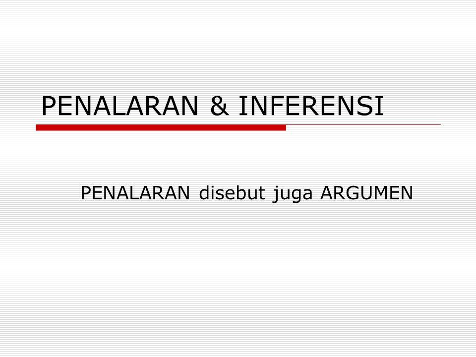 PENALARAN & INFERENSI PENALARAN disebut juga ARGUMEN