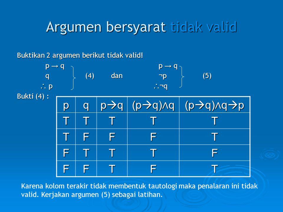 Argumen bersyarat tidak valid Buktikan 2 argumen berikut tidak valid! p → q p → q q (4) dan ¬ p (5)  p  ¬ q  p  ¬ q Bukti (4) : pq pqpqpqpq (p