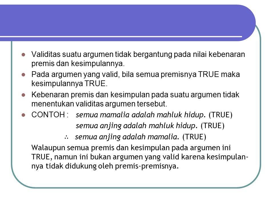 ARGUMEN: 2 PREMIS 1 KESIMPULAN Bentuk umum: P 1 P 2  K Contoh : Setiap orang yang mendaftar di KPU adalah pemilih sah.