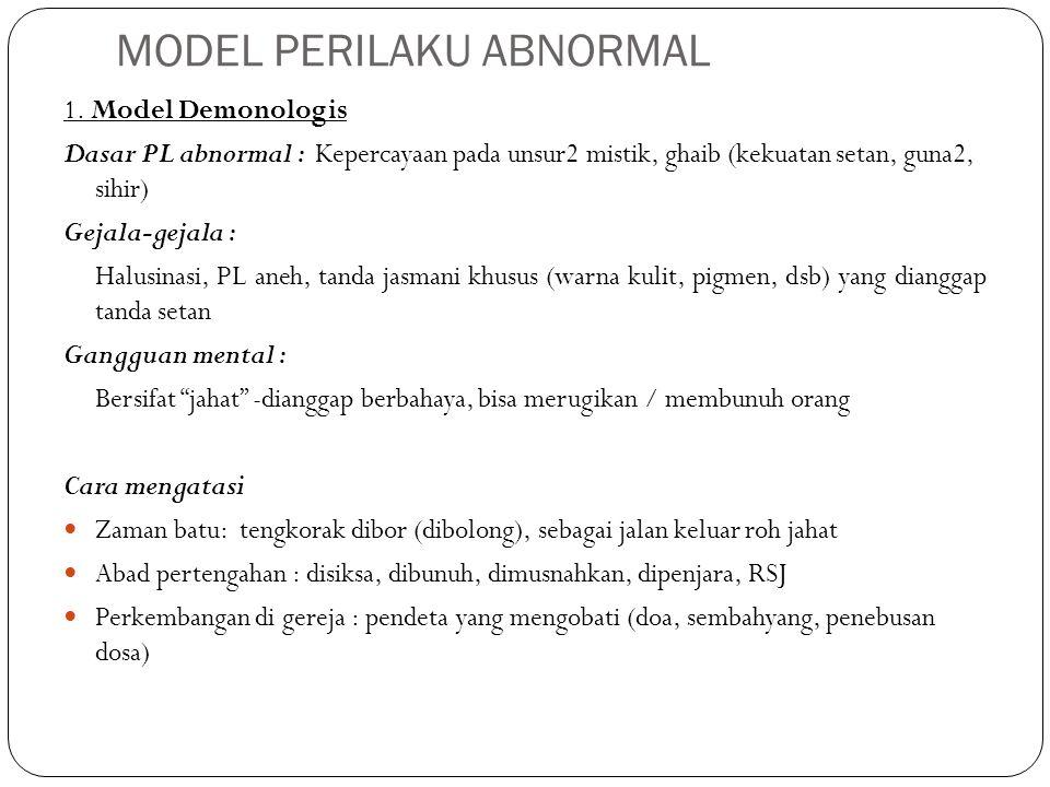MODEL PERILAKU ABNORMAL 1. Model Demonologis Dasar PL abnormal : Kepercayaan pada unsur2 mistik, ghaib (kekuatan setan, guna2, sihir) Gejala-gejala :