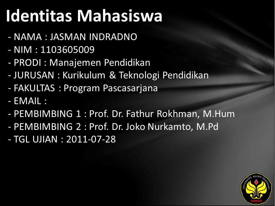 Identitas Mahasiswa - NAMA : JASMAN INDRADNO - NIM : 1103605009 - PRODI : Manajemen Pendidikan - JURUSAN : Kurikulum & Teknologi Pendidikan - FAKULTAS