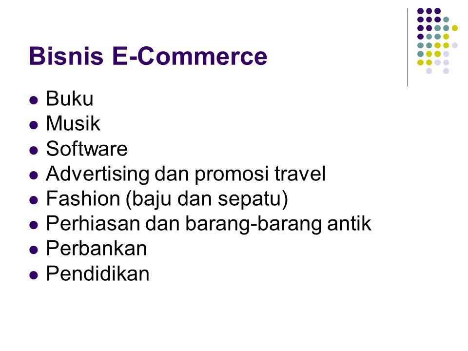 Bisnis E-Commerce Buku Musik Software Advertising dan promosi travel Fashion (baju dan sepatu) Perhiasan dan barang-barang antik Perbankan Pendidikan