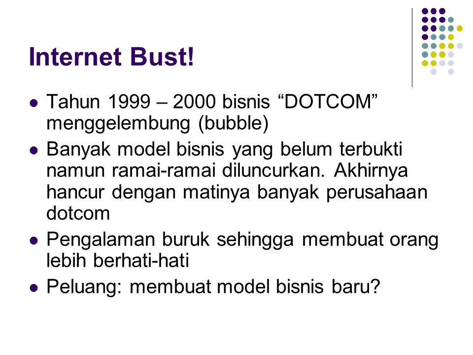 """Internet Bust! Tahun 1999 – 2000 bisnis """"DOTCOM"""" menggelembung (bubble) Banyak model bisnis yang belum terbukti namun ramai-ramai diluncurkan. Akhirny"""
