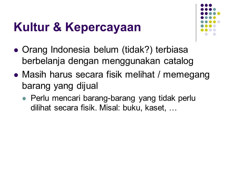 Kultur & Kepercayaan Orang Indonesia belum (tidak?) terbiasa berbelanja dengan menggunakan catalog Masih harus secara fisik melihat / memegang barang