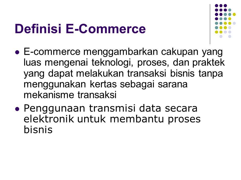 Definisi E-Commerce E-commerce menggambarkan cakupan yang luas mengenai teknologi, proses, dan praktek yang dapat melakukan transaksi bisnis tanpa men