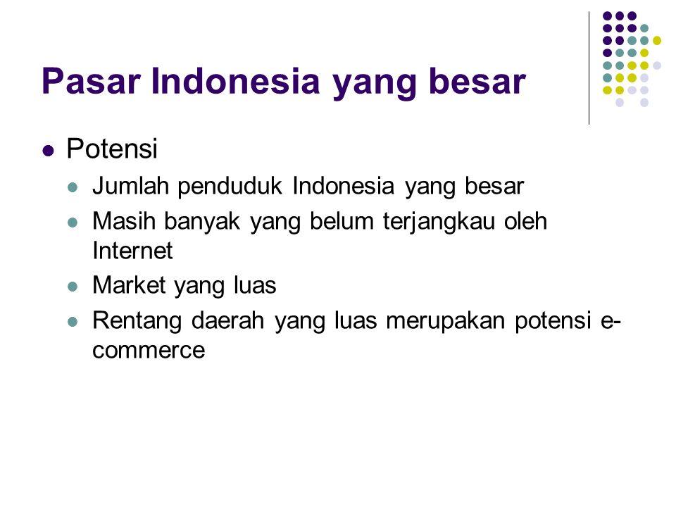 Pasar Indonesia yang besar Potensi Jumlah penduduk Indonesia yang besar Masih banyak yang belum terjangkau oleh Internet Market yang luas Rentang daer