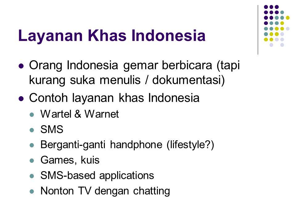 Layanan Khas Indonesia Orang Indonesia gemar berbicara (tapi kurang suka menulis / dokumentasi) Contoh layanan khas Indonesia Wartel & Warnet SMS Berg