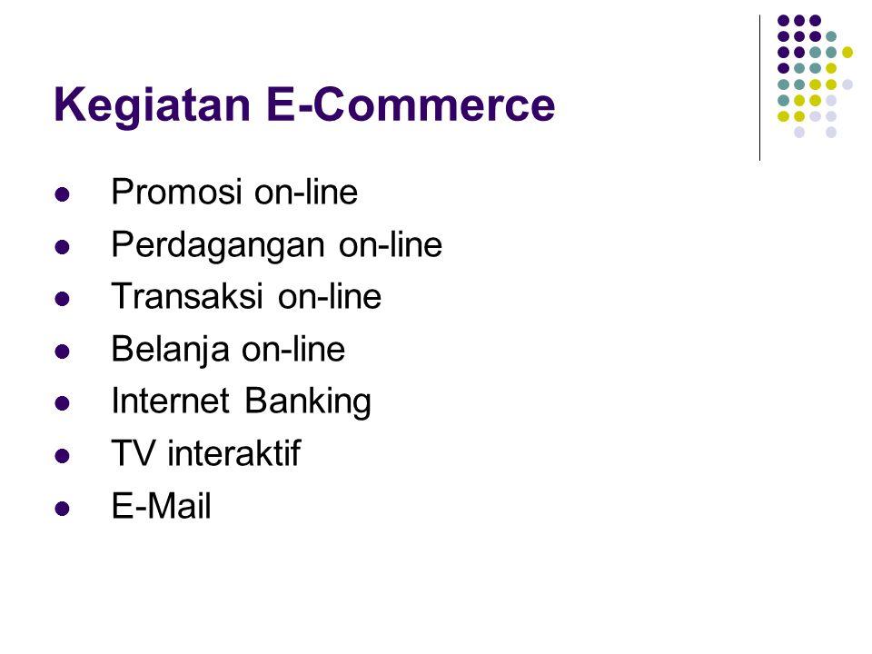 Kegiatan E-Commerce Promosi on-line Perdagangan on-line Transaksi on-line Belanja on-line Internet Banking TV interaktif E-Mail
