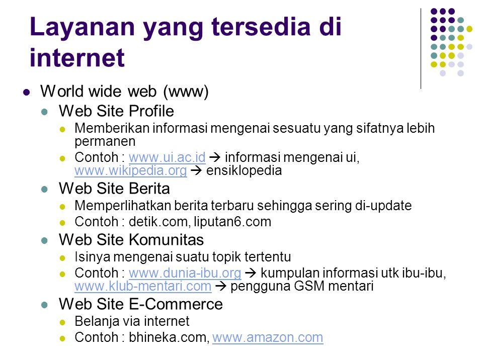 Layanan yang tersedia di internet Email  fungsinya hampir sama seperti pos surat.