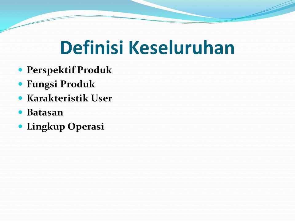 Definisi Keseluruhan Perspektif Produk Fungsi Produk Karakteristik User Batasan Lingkup Operasi