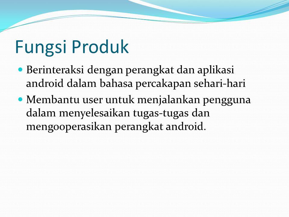 Fungsi Produk Berinteraksi dengan perangkat dan aplikasi android dalam bahasa percakapan sehari-hari Membantu user untuk menjalankan pengguna dalam me