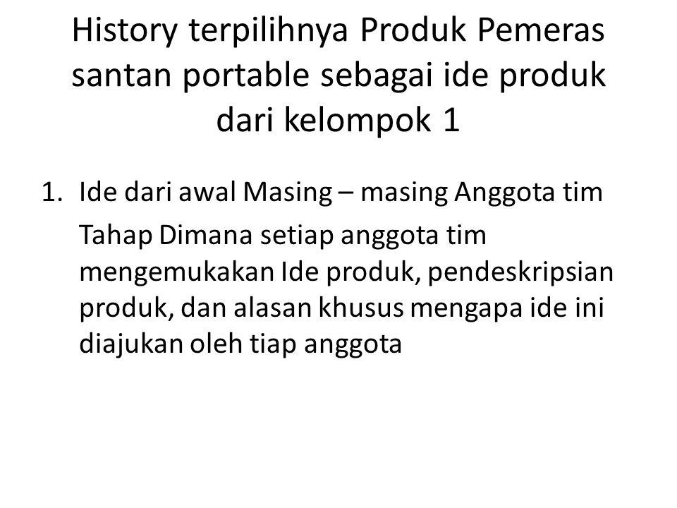 History terpilihnya Produk Pemeras santan portable sebagai ide produk dari kelompok 1 2.