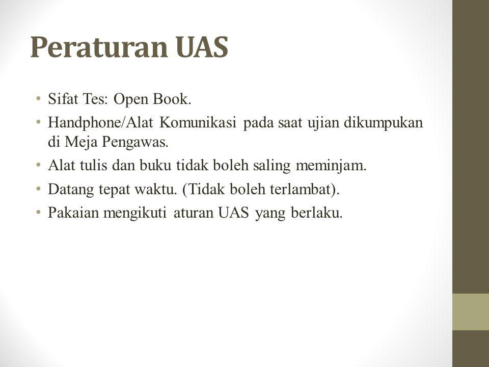 Peraturan UAS Sifat Tes: Open Book. Handphone/Alat Komunikasi pada saat ujian dikumpukan di Meja Pengawas. Alat tulis dan buku tidak boleh saling memi
