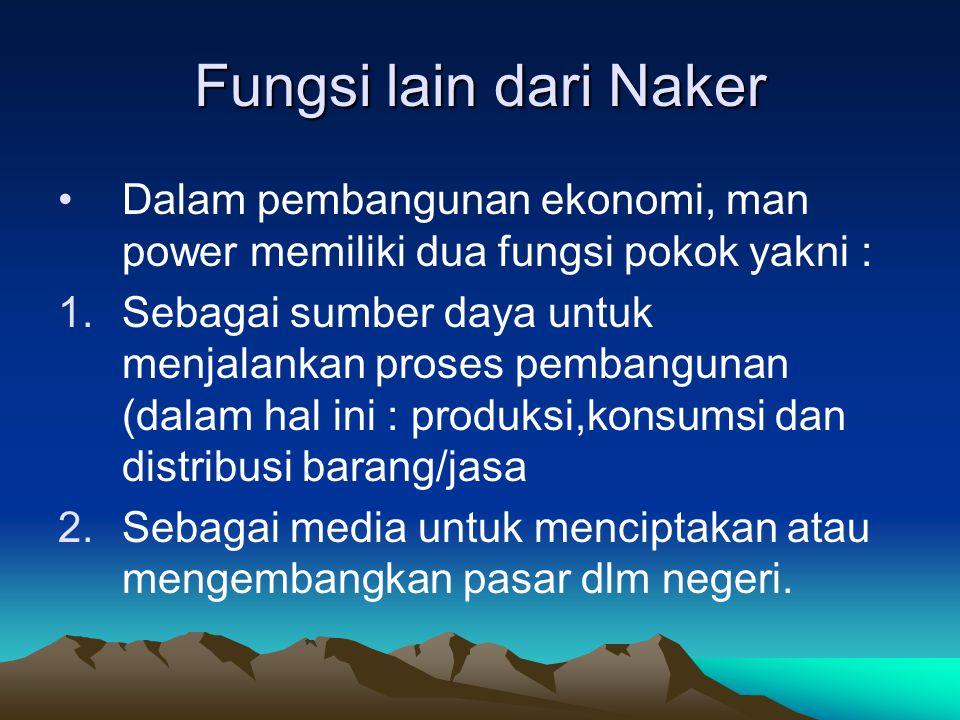 Fungsi lain dari Naker Dalam pembangunan ekonomi, man power memiliki dua fungsi pokok yakni : 1.Sebagai sumber daya untuk menjalankan proses pembangun