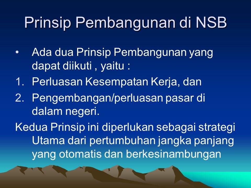 Prinsip Pembangunan di NSB Ada dua Prinsip Pembangunan yang dapat diikuti, yaitu : 1.Perluasan Kesempatan Kerja, dan 2.Pengembangan/perluasan pasar di