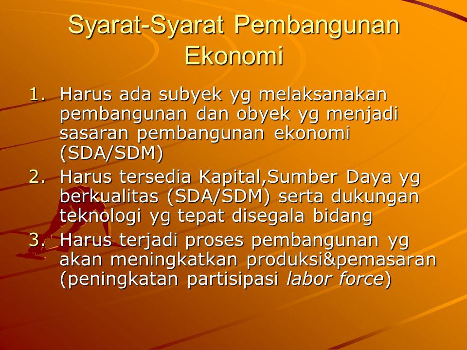 Syarat-Syarat Pembangunan Ekonomi 1.Harus ada subyek yg melaksanakan pembangunan dan obyek yg menjadi sasaran pembangunan ekonomi (SDA/SDM) 2.Harus te