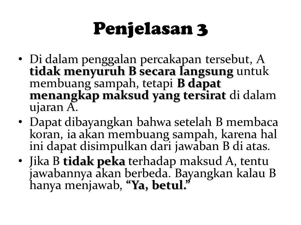 Penjelasan 3 tidak menyuruh B secara langsung B dapat menangkap maksud yang tersirat Di dalam penggalan percakapan tersebut, A tidak menyuruh B secara