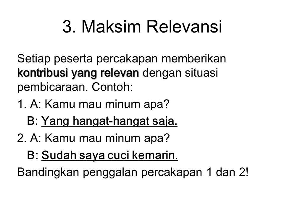 3. Maksim Relevansi kontribusi yang relevan Setiap peserta percakapan memberikan kontribusi yang relevan dengan situasi pembicaraan. Contoh: 1. A: Kam