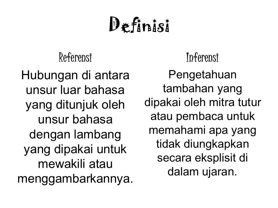 Definisi Referensi Hubungan di antara unsur luar bahasa yang ditunjuk oleh unsur bahasa dengan lambang yang dipakai untuk mewakili atau menggambarkann