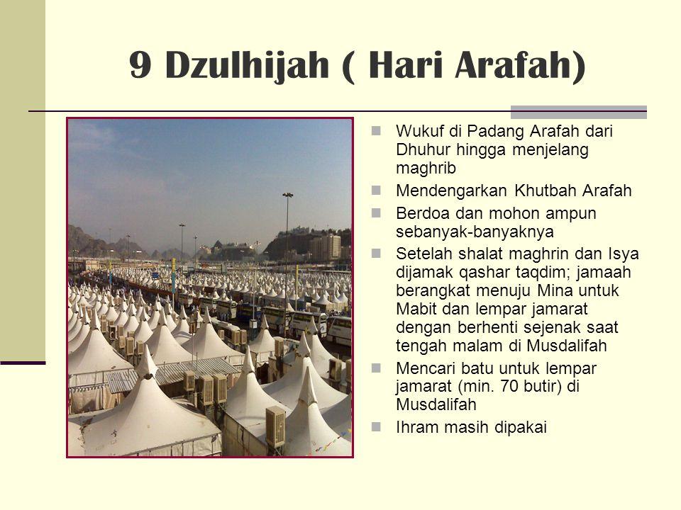 10 Dzulhijah (Mabit di Mina) Dini hari, saat kedatangan di Mina, para jamaah dianjurkan melempar kerikil di Jumratul Aqabah ( 7x ) – Sunnahnya saat dhuhur hingga menjelang asyar.