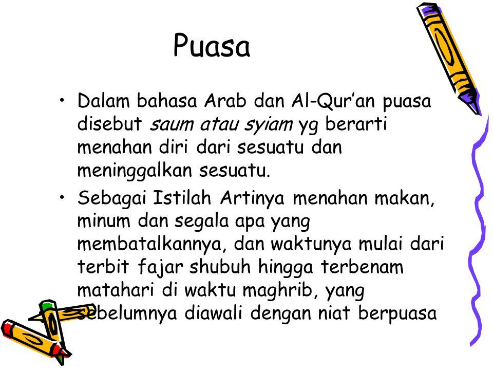 Puasa Dalam bahasa Arab dan Al-Qur'an puasa disebut saum atau syiam yg berarti menahan diri dari sesuatu dan meninggalkan sesuatu. Sebagai Istilah Art