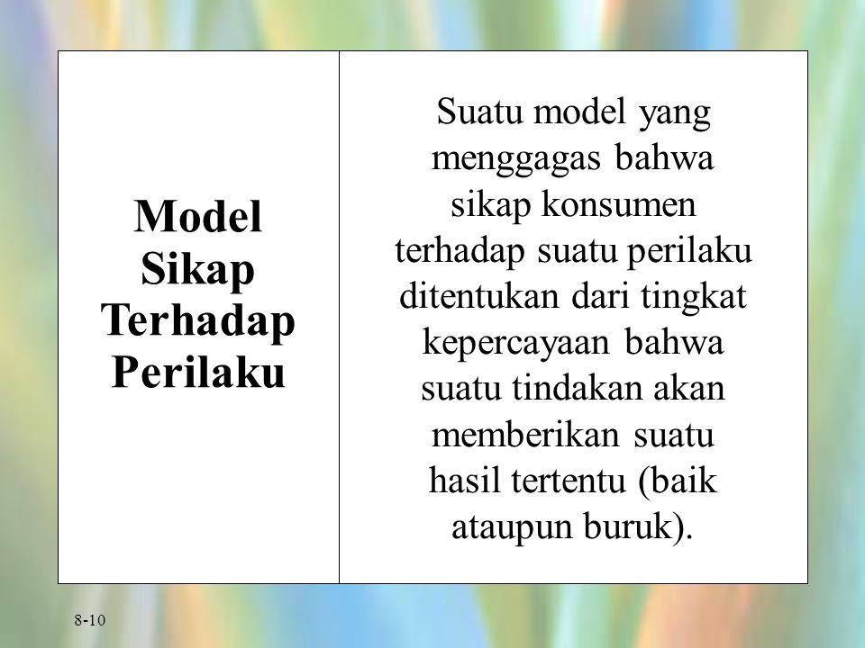 8-10 Model Sikap Terhadap Perilaku Suatu model yang menggagas bahwa sikap konsumen terhadap suatu perilaku ditentukan dari tingkat kepercayaan bahwa suatu tindakan akan memberikan suatu hasil tertentu (baik ataupun buruk).