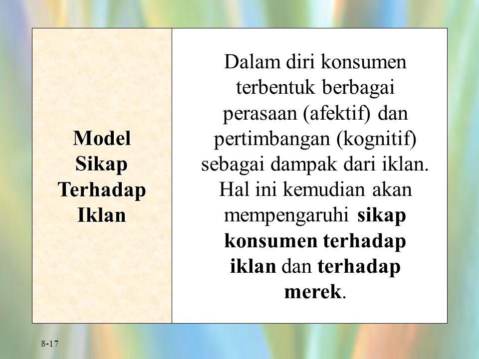 8-17 Model Sikap Terhadap Iklan Dalam diri konsumen terbentuk berbagai perasaan (afektif) dan pertimbangan (kognitif) sebagai dampak dari iklan.