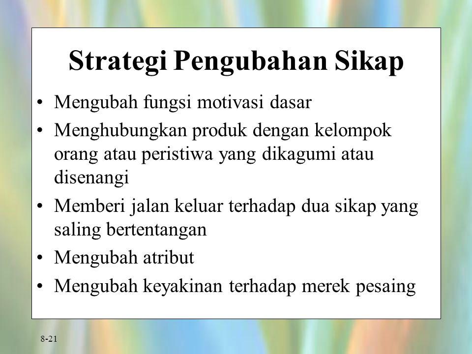 8-21 Strategi Pengubahan Sikap Mengubah fungsi motivasi dasar Menghubungkan produk dengan kelompok orang atau peristiwa yang dikagumi atau disenangi Memberi jalan keluar terhadap dua sikap yang saling bertentangan Mengubah atribut Mengubah keyakinan terhadap merek pesaing