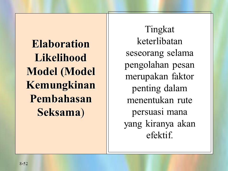 8-52 Elaboration Likelihood Model (Model Kemungkinan Pembahasan Seksama) Tingkat keterlibatan seseorang selama pengolahan pesan merupakan faktor penting dalam menentukan rute persuasi mana yang kiranya akan efektif.