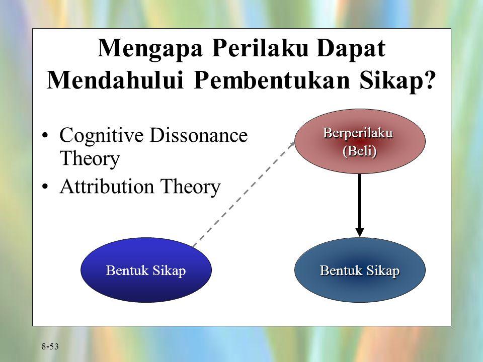 8-53 Mengapa Perilaku Dapat Mendahului Pembentukan Sikap? Cognitive Dissonance Theory Attribution Theory Berperilaku(Beli) Bentuk Sikap