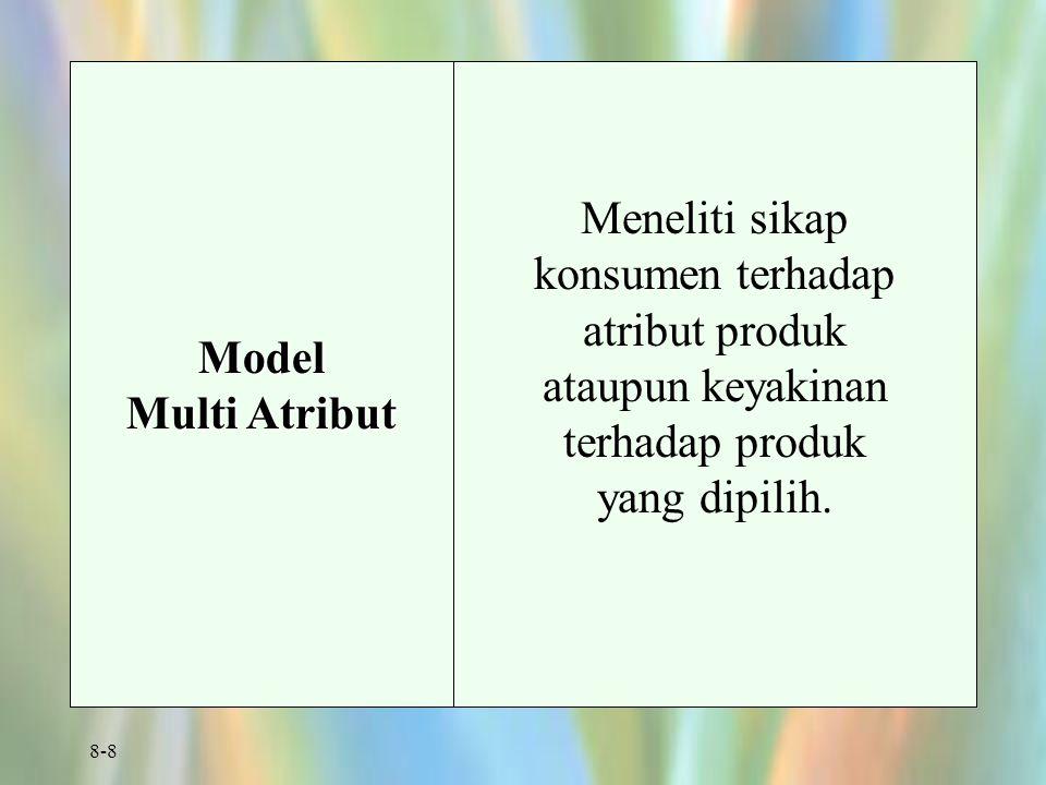 8-8 Model Multi Atribut Meneliti sikap konsumen terhadap atribut produk ataupun keyakinan terhadap produk yang dipilih.