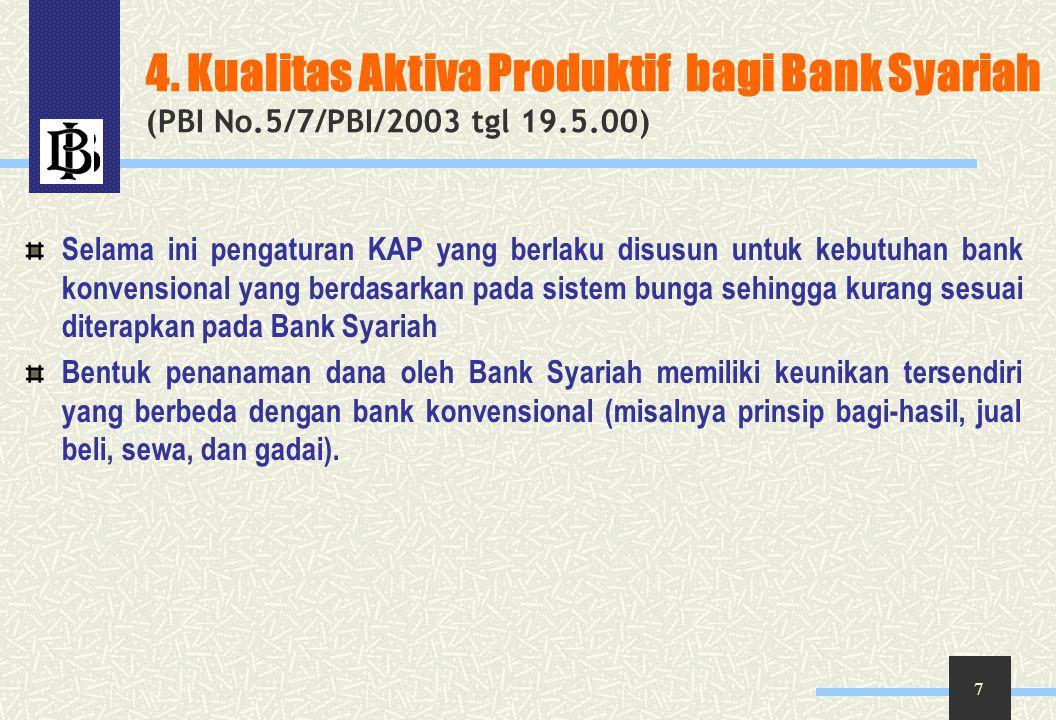 8 Pokok-Pokok Pengaturan KAP bank Syariah dikelompokkan dalam bentuk: Pembiayaan, Piutang, Qardh, Surat Berharga Syariah, Penempatan, penyertaan modal, Sertifikat Wadiah Bank Indonesia, serta komitmen dan kontijensi pada transaksi rekening administrasi.