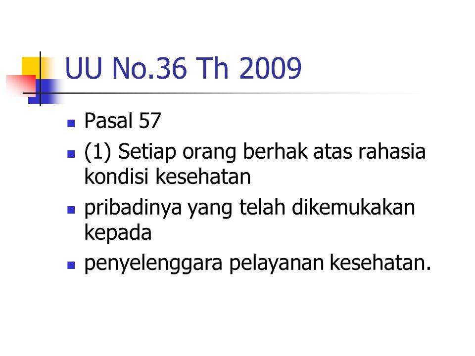 UU No.36 Th 2009 Pasal 57 (1) Setiap orang berhak atas rahasia kondisi kesehatan pribadinya yang telah dikemukakan kepada penyelenggara pelayanan kese
