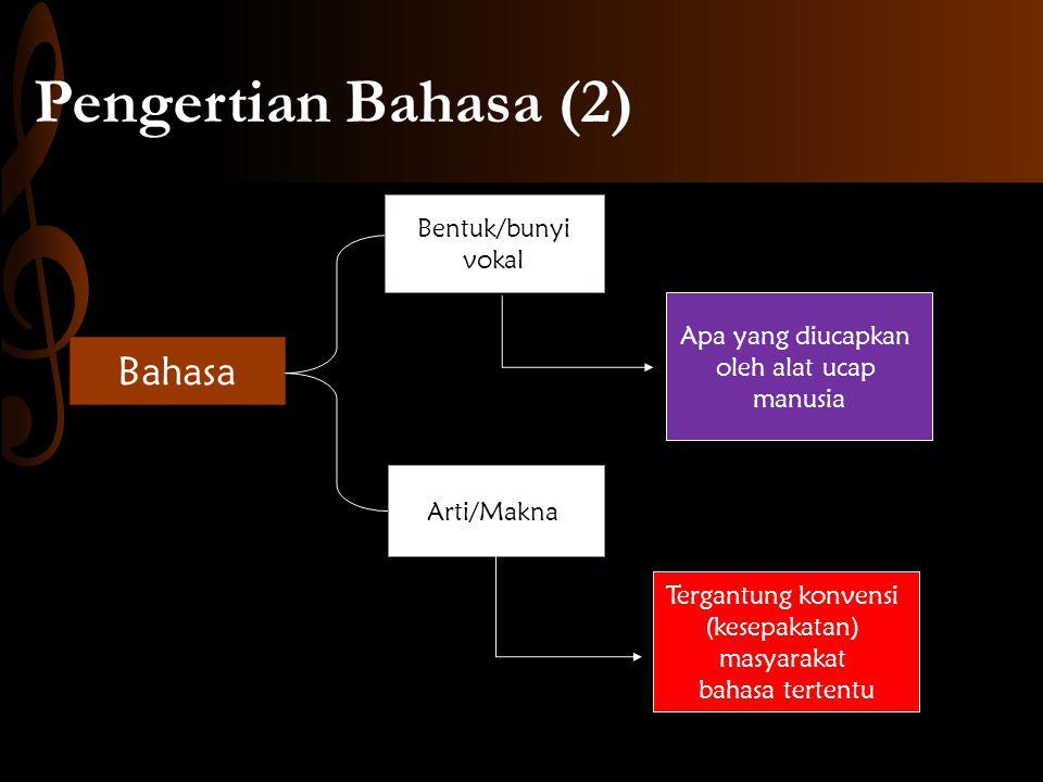 Bahasa Bentuk/bunyi vokal Arti/Makna Apa yang diucapkan oleh alat ucap manusia Tergantung konvensi (kesepakatan) masyarakat bahasa tertentu Pengertian Bahasa (2)