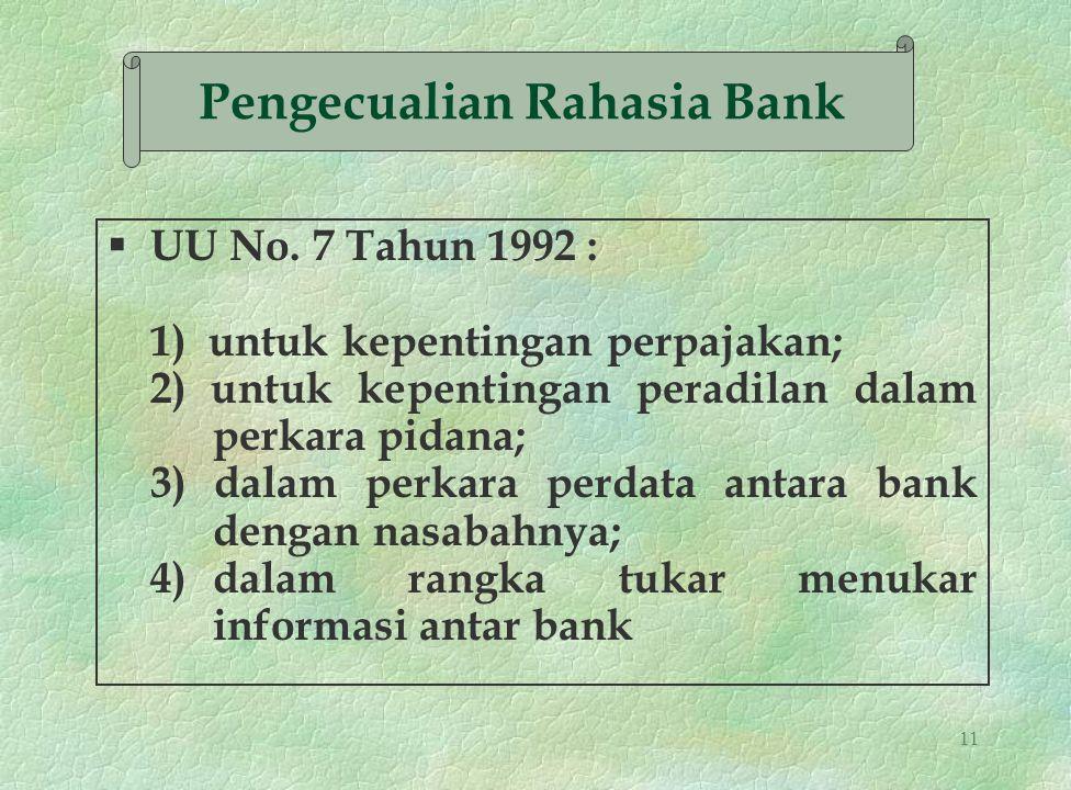11 § UU No. 7 Tahun 1992 : 1) untuk kepentingan perpajakan; 2) untuk kepentingan peradilan dalam perkara pidana; 3) dalam perkara perdata antara bank