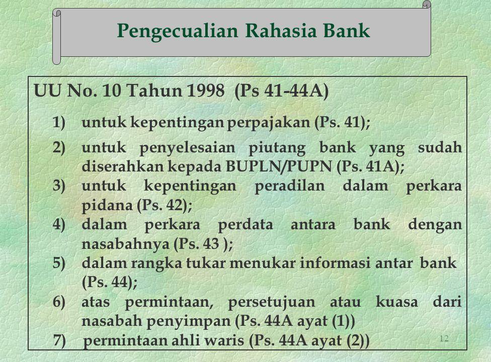 12 UU No. 10 Tahun 1998 (Ps 41-44A) 1) untuk kepentingan perpajakan (Ps. 41); 2) untuk penyelesaian piutang bank yang sudah diserahkan kepada BUPLN/PU