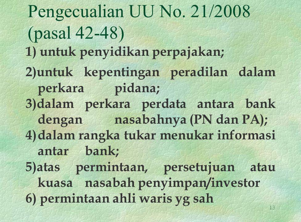 Pengecualian UU No. 21/2008 (pasal 42-48) 1) untuk penyidikan perpajakan; 2)untuk kepentingan peradilan dalam perkara pidana; 3)dalam perkara perdata