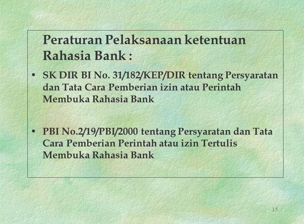 15 Peraturan Pelaksanaan ketentuan Rahasia Bank : SK DIR BI No. 31/182/KEP/DIR tentang Persyaratan dan Tata Cara Pemberian izin atau Perintah Membuka