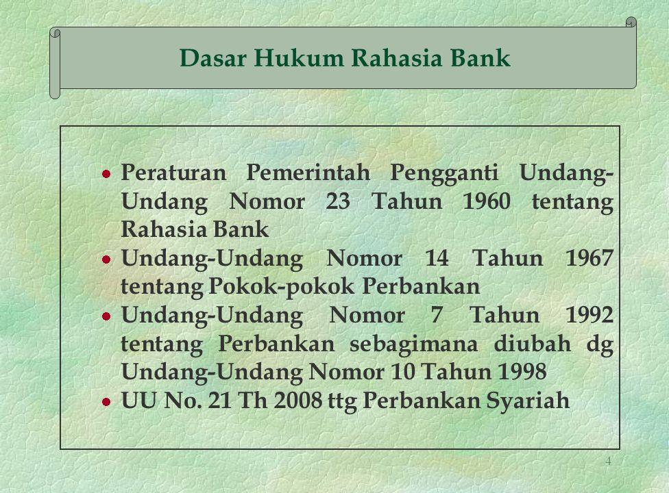 4 Peraturan Pemerintah Pengganti Undang- Undang Nomor 23 Tahun 1960 tentang Rahasia Bank Undang-Undang Nomor 14 Tahun 1967 tentang Pokok-pokok Perbank