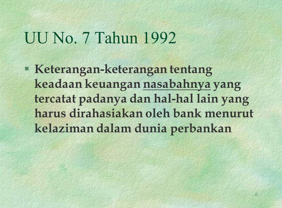 UU No. 7 Tahun 1992 § Keterangan-keterangan tentang keadaan keuangan nasabahnya yang tercatat padanya dan hal-hal lain yang harus dirahasiakan oleh ba
