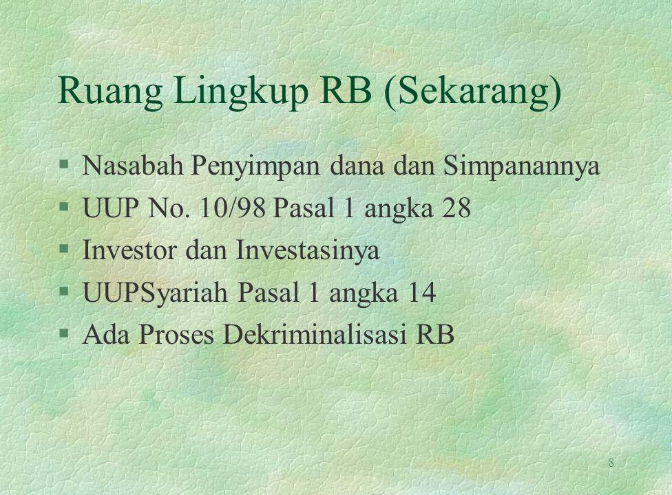 Ruang Lingkup RB (Sekarang) §Nasabah Penyimpan dana dan Simpanannya §UUP No. 10/98 Pasal 1 angka 28 §Investor dan Investasinya §UUPSyariah Pasal 1 ang