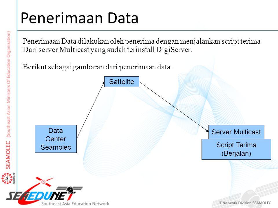 Penerimaan Data dilakukan oleh penerima dengan menjalankan script terima Dari server Multicast yang sudah terinstall DigiServer.