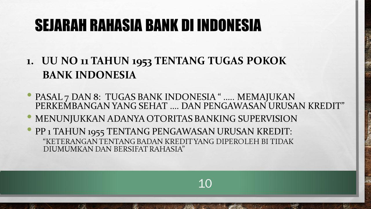 """SEJARAH RAHASIA BANK DI INDONESIA 1. UU NO 11 TAHUN 1953 TENTANG TUGAS POKOK BANK INDONESIA PASAL 7 DAN 8: TUGAS BANK INDONESIA """" ….. MEMAJUKAN PERKEM"""