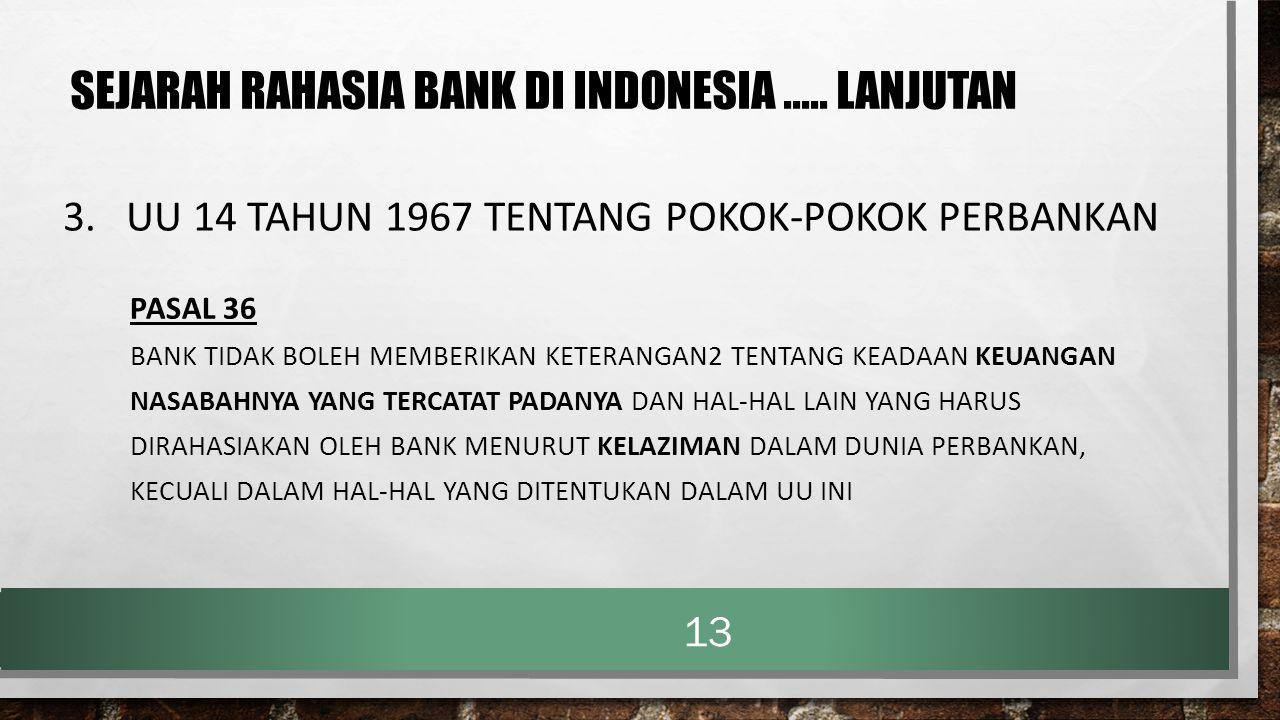 3. UU 14 TAHUN 1967 TENTANG POKOK-POKOK PERBANKAN PASAL 36 BANK TIDAK BOLEH MEMBERIKAN KETERANGAN2 TENTANG KEADAAN KEUANGAN NASABAHNYA YANG TERCATAT P