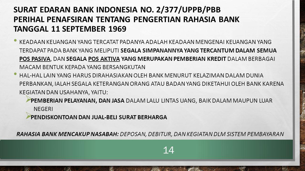 SURAT EDARAN BANK INDONESIA NO. 2/377/UPPB/PBB PERIHAL PENAFSIRAN TENTANG PENGERTIAN RAHASIA BANK TANGGAL 11 SEPTEMBER 1969 KEADAAN KEUANGAN YANG TERC